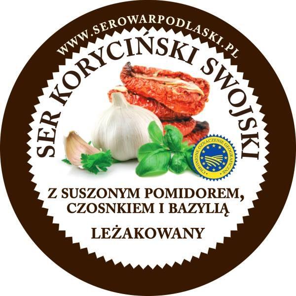 ser koryciński z suszonymi pomidorami, czosnkiem i bazylią